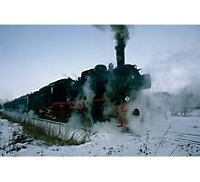 Steam locomotive in winter, Germany,1985 Photographic Print