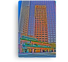 Financial district, reflections Canvas Print