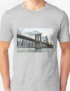 City lights on Lower Manhattan & Brooklyn Bridge  Unisex T-Shirt
