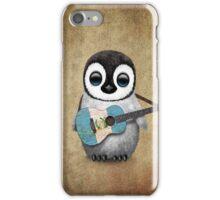 Baby Penguin Playing Guatemalan Flag Guitar iPhone Case/Skin