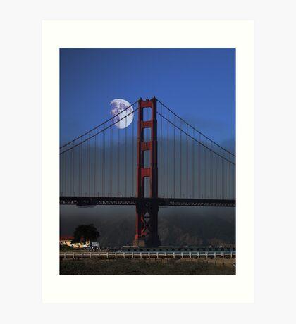 Moon Over Foggy Golden Gate Bridge . Vertical Art Print