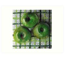 Ode to Granny Smith 3 apples Art Print