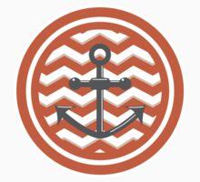 Orange Chevron Anchor Smile Illusion One Piece - Short Sleeve