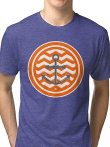 Orange Chevron Anchor Smile Illusion Tri-blend T-Shirt