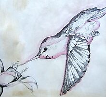 """""""Antique"""" Hummingbird in Flight - DisCo Project by Leslie Gustafson"""