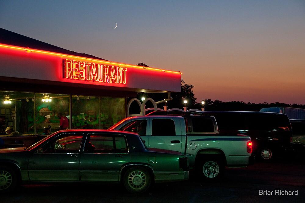 Crescent Moon over Cajun Restaurant by Briar Richard