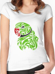 Green ringneck parrot tattoo Women's Fitted Scoop T-Shirt