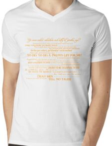 Dress Up, Me Hearties, Yo Ho! (White/Orange) Mens V-Neck T-Shirt