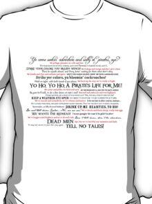 Dress Up, Me Hearties, Yo Ho! (Black/Red) T-Shirt