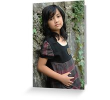 little girl with nice and cute face Greeting Card