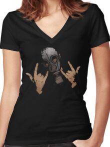 Devil Horns (Colour Version) Women's Fitted V-Neck T-Shirt