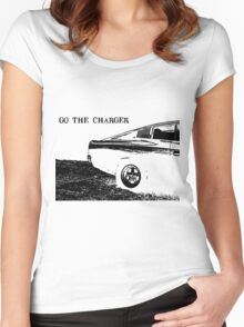 Valiant Charger Australian Muscle Car rear view, GO THE CHARGER black Women's Fitted Scoop T-Shirt