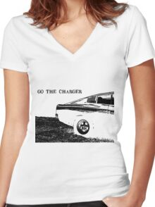 Valiant Charger Australian Muscle Car rear view, GO THE CHARGER black Women's Fitted V-Neck T-Shirt
