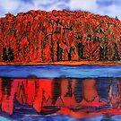 Red Autumn touches the Blues.. by Nira Dabush