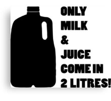 Only milk & Juice come in 2 litres! Canvas Print