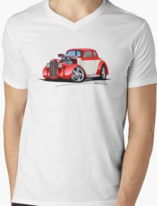 1936 Plymouth Coupe (A) Red Mens V-Neck T-Shirt