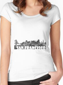 SAN FRANCISCO SKYLINE - BW Women's Fitted Scoop T-Shirt