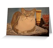 """Therapy Cat says """"What is your problem?"""" Greeting Card"""