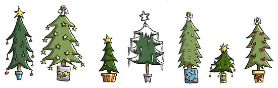 Christmas Card: Tree Collection by Kirsty Mordaunt