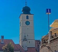 Council Tower Sibiu Romania tower on blue sky by Adrian Bud