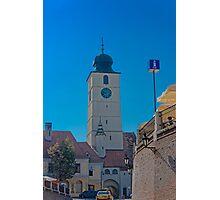 Council Tower Sibiu Romania tower on blue sky Photographic Print