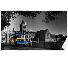 Vintage bus at Taunton School Poster
