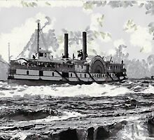 Algerian (Side wheeler) In the Lachine Rapids, St. Lawrence River, Canada ca.1900 by Dennis Melling
