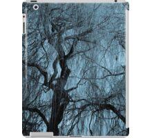 Blue tree monochrome autumn willow iPad Case/Skin