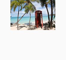 Red public Telephone Booth on Antigua Unisex T-Shirt