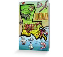 Louisiana Cartoon Map Greeting Card