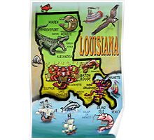 Louisiana Cartoon Map Poster