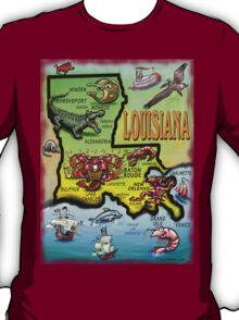 Louisiana Cartoon Map T-Shirt