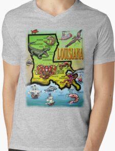 Louisiana Cartoon Map Mens V-Neck T-Shirt