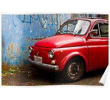 Vintage and rustic little red car Poster