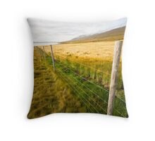 Green wheat field Throw Pillow