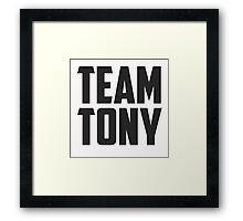 Team Tony - Black on White Framed Print