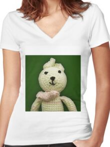 Knitted Character Women's Fitted V-Neck T-Shirt