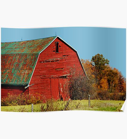 Big Red Barn in Autumn, rural Ontario Poster