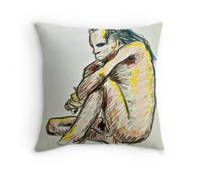 Colorful Caveman - Sitting Male Throw Pillow