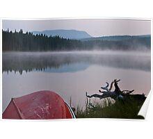 Red Canoe and Morning Mist, Goldeye Lake, Alberta, Canada Poster