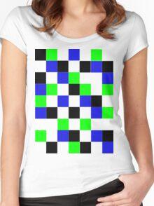 Blocks - Blue Women's Fitted Scoop T-Shirt