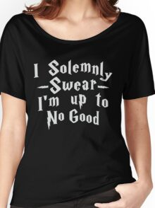 I Solemnly Swear I'm Up To No Good, White Ink | Women's Harry Potter Quote, Deathly Hallows Women's Relaxed Fit T-Shirt