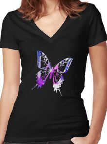 Purple Abstract Paint Pattern Women's Fitted V-Neck T-Shirt