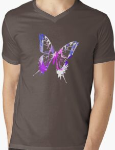 Purple Abstract Paint Pattern Mens V-Neck T-Shirt