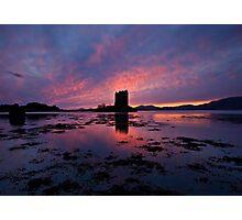 Scotland: Sunset at Castle Stalker Photographic Print