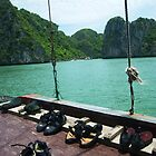 Climbing Shoes Drying on a Boat in Ha Long Bay by Sergey Kahn