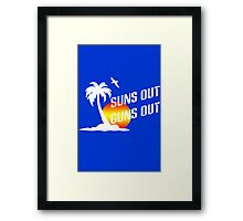 Suns out guns out geek funny nerd Framed Print