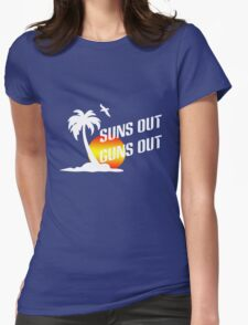Suns out guns out geek funny nerd Womens Fitted T-Shirt