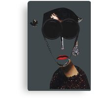 Portrait of a woman, fashion, red lips, glasses  Canvas Print