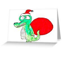 Crocodile Santa Greeting Card